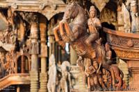 cheval-cavalier-sculpture-bois-thailande